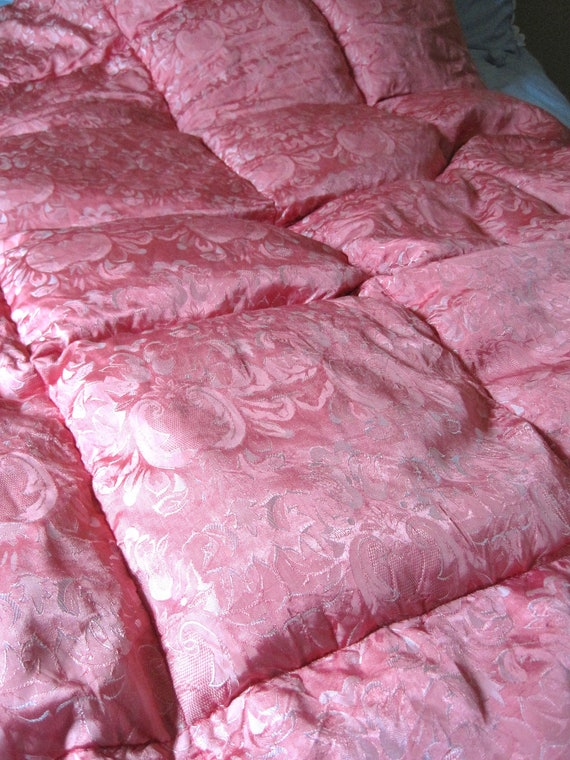 Vintage Peachy Pink and Gold Eiderdown Cot