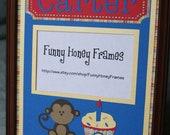 PERSONALIZED/Custom PICTURE frame matting 1st Birthday baby Boy Mod Monkey- matting only