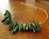 Asymmetrical Bar Necklace: African Turquoise and Sterling Silver
