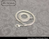 SOJ-012: Set of 10 - 24 inch Silver Plated 2mm Snake Chain Necklaces