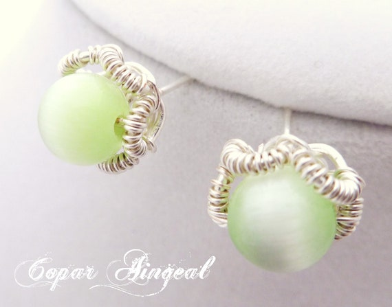 Green Stud Earrings - Silver Toned Wire Wrapped Catseye Beads