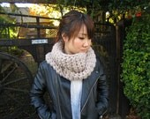 Chunky Cowl, Infinity Scarf, Cowl Snood Scarf in Mushroom beige handmade - READY TO SHIP