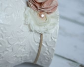 Shabby Chic Creme Rosette with Pink Pearl and Pink Flower Headband with Tan Elastic
