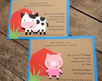 Barnyard Farm Party Invitations Cow, Pig, Barn, Birthday Invitations shower invitations custom