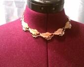 SALE- Gold and pink leaf link necklace