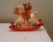 Teddy & Rocking Horse - 80's Christmas night light