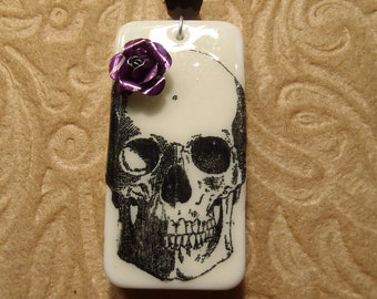 Day of the Dead Sugar Skull with Purple Soda Can Rose Necklace