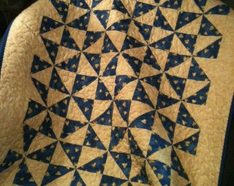 """Tan, Blue and Country Hearts Are Ready To Swaddle Your Baby Boy In This 30"""" X 36"""" Quilt"""
