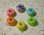 Frosted Rainbow Doughnut Charms - 6 Colors to Choose