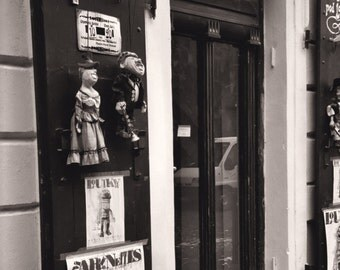 Marionette Storefront, Off the Charles Bridge, Architecture, Sepia - 5x7 Fine Art Photograph