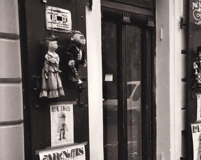 Marionette Storefront, Off the Charles Bridge, Architecture, Sepia - 5x7 Fine Art Photograph