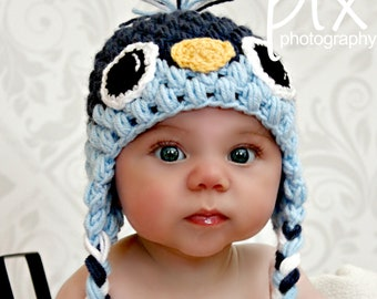 Baby Bird Beanie CROCHET PATTERN instant download - Earflap Hat
