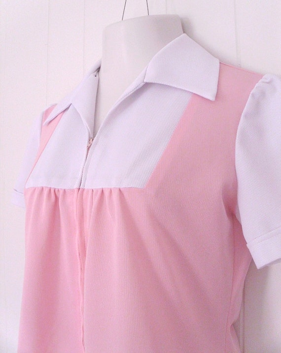 Vintage Pink and White Uniform Shirt- Pink and White Ladies Maid Shirt with Pockets