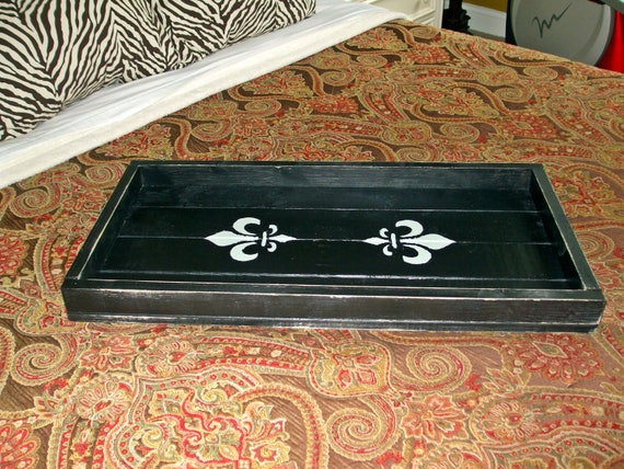 Items similar to large fleur de lis serving tray wooden tray french decor black distressed - Fleur de lis serving tray ...