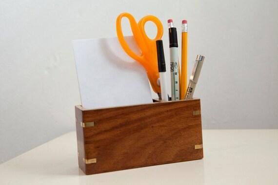 Vintage Mid Century Modern Wooden/Gold/ Teak Pen/Pencil Holder 1960s 1970s