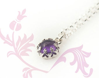 Amethyst Necklace - February Birthstone Necklace with or without Initial