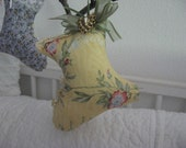 CLEARANCE SALE Shoe Old Fashioned Stuffed  Straw Yellow Floral Print Moss Ribbon Pincushion Home Decor Ornament