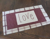Table Runner Love Burgundy, Rose, Gold Ecru Plaid Small Dresser Scarf Home Decor