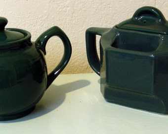 2 Dark Green Teal Small Decorative Teapots
