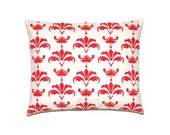 """Christmas Deer Damask Pillow Case - Noel Red print on Off white Cotton - 16""""x20"""",16""""x16"""" or 18""""x18"""""""