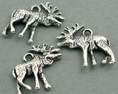 Moose Charms Antique Silver deer charms 4pcs base metal beads 22X22mm CM0281S