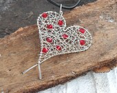 Love Heart Necklace Wire Wrapped Jewelry Handmade Sterling Silver Red Swarovski Crystal Romantic  Valentine