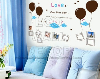 PEEL and STICK Removable Vinyl Wall Sticker Mural Decal Art - One Fine Day Love Photo Frames