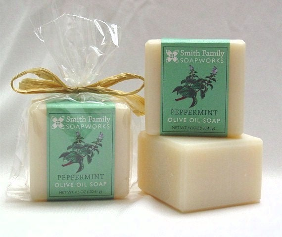 Handmade Soap, Peppermint, Natural Soap, Olive Oil Soap Bar, Cold Process Soap