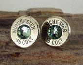Colt 45 - Peridot - Winchester - Ultra Thin Bullet Earrings