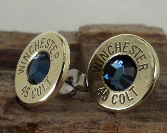Bullet Jewelry - Colt 45 Winchester - Ultra Thin Bullet Earrings - Midnight Blue