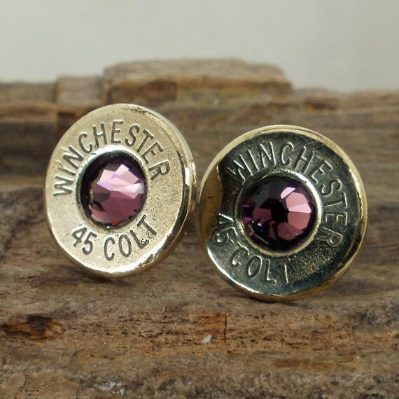 Bullet  Earrings  - Stud Earrings - Ultra Thin - Colt 45 - Amethyst