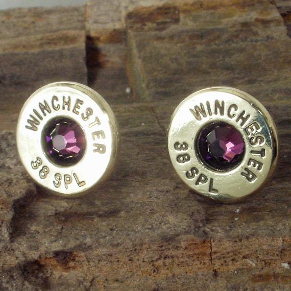 Bullet Earrings - Winchester - February Birthstone - Amethyst