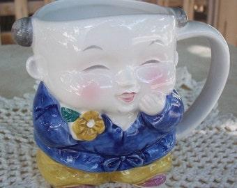 Takahashi Japanese Child in Blue Porcelain Mug Hand Painted