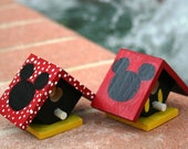 Mickey & Minnie set of mini Birdhouses
