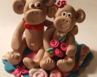 Wedding cake topper monkeys custom designed for you,Polymer Clay  2016, cute monkey cake topper