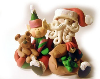 Christmas Santa Claus with elf and teddy bear decoration,Polymer Clay  2016