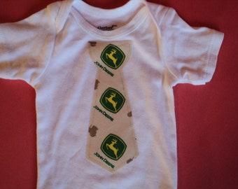 John Deere Baby Bodysuit With Tie - Baby Gift - Ready To Ship In Size 0-3 Months - Baby Shower - Baby Boy Bodysuit -  Infant Tie Bodysuit