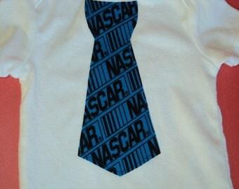Boys  Nascar Shirt - Racing Shirt, Ready To Ship Boys Size 2-4 Yrs. & 4-7 Yrs Boys Clothing, Shirt With Nascar Tie, Birthday Gift