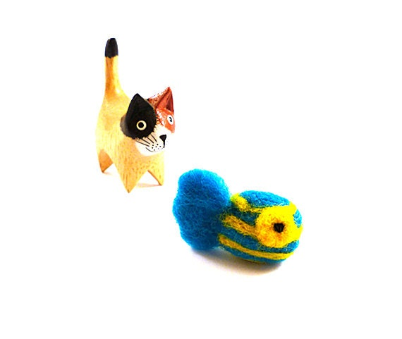 SALE Striped Yellow and Blue Wool Fish Catnip Cat Toy