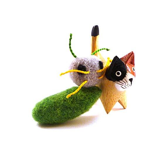 SALE - Alien Slug Felt Catnip Cat Toy