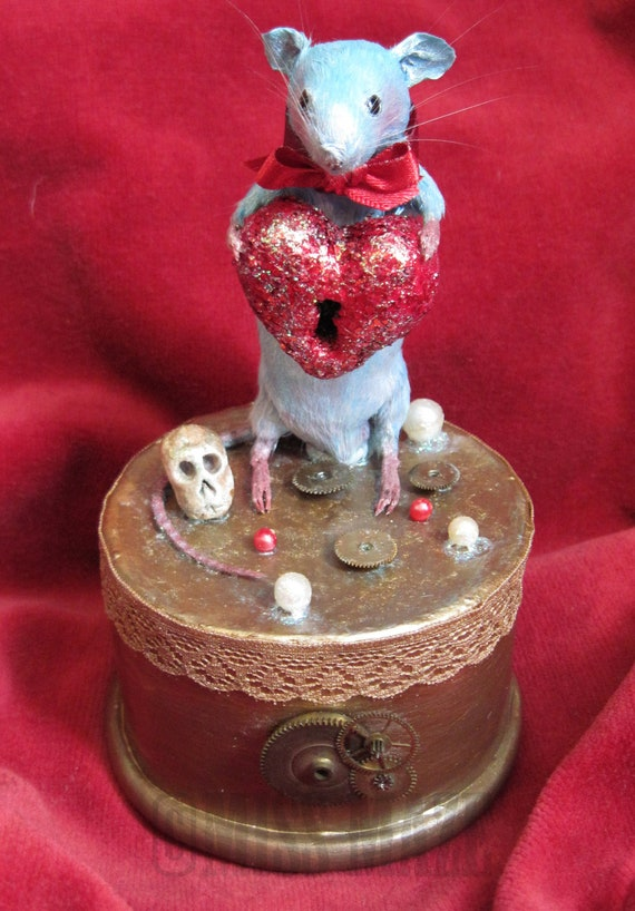 CUSTOM LISTING Little Tiny Blue Mouse Taxidermy Steampunk Red Heart OOAK