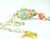 Aqua and Pink Floral Tiffany Inspired Handmade Art Glass Necklace