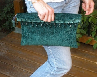 ON SALE! Boho Emerald Green Chenille Beaded Zipper Clutch