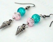 Ice Cream Cone, Light Pink, Baby Pink, Rosette, Turquoise Blue Sparkle, Womens, Girl Dangle Earrings