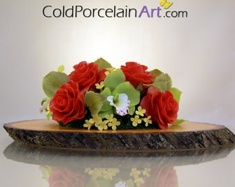 Roses Centerpiece - Cold Porcelain Art - Ready to Ship