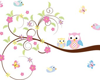 Kids swirl tree branch with leaves owls and birds removeable vinyl wall decal