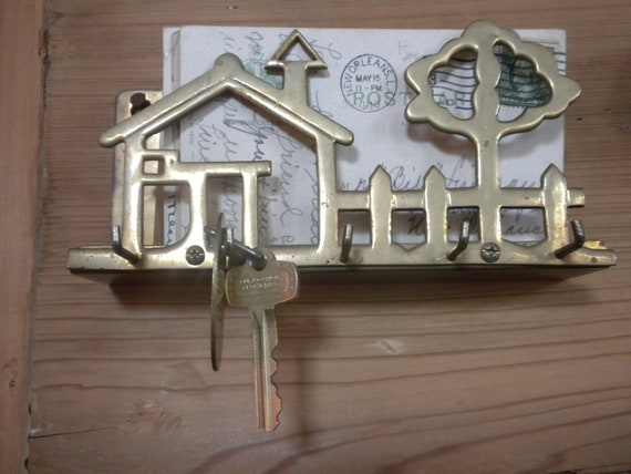 Home Sweet Home Vintage Brass Letter and Key Holder to Hang Near Your Door