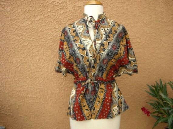 SALE 70s Batik Hippie Top