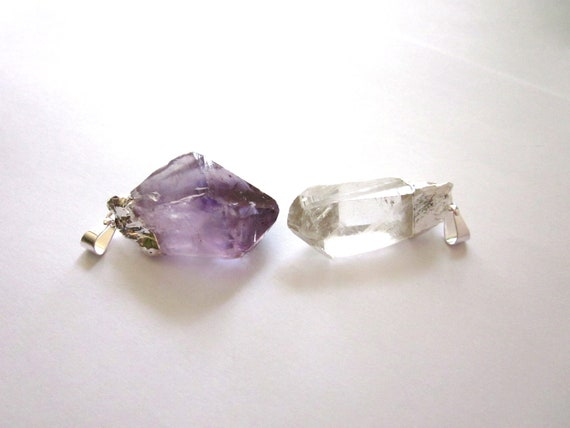 Amethyst and Quartz Crystal Point With Silver Cap and Bail Loop for Hanging 2 Raw Rough Natural Crystals (Lot No. 750)