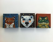 CLEARANCE Fox, Frog and Polar Bear Paintings Buy 1 get 3